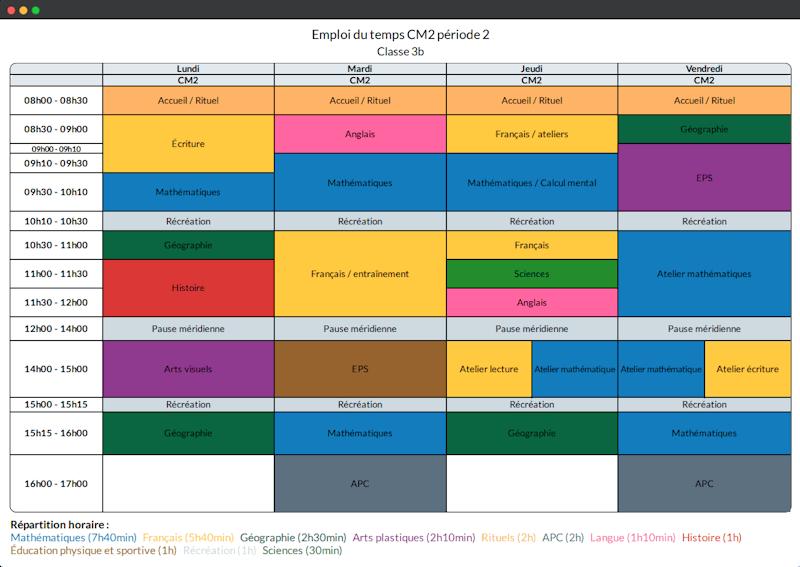 Exemple emploi du temps de la classe CM2 de Mme Michu